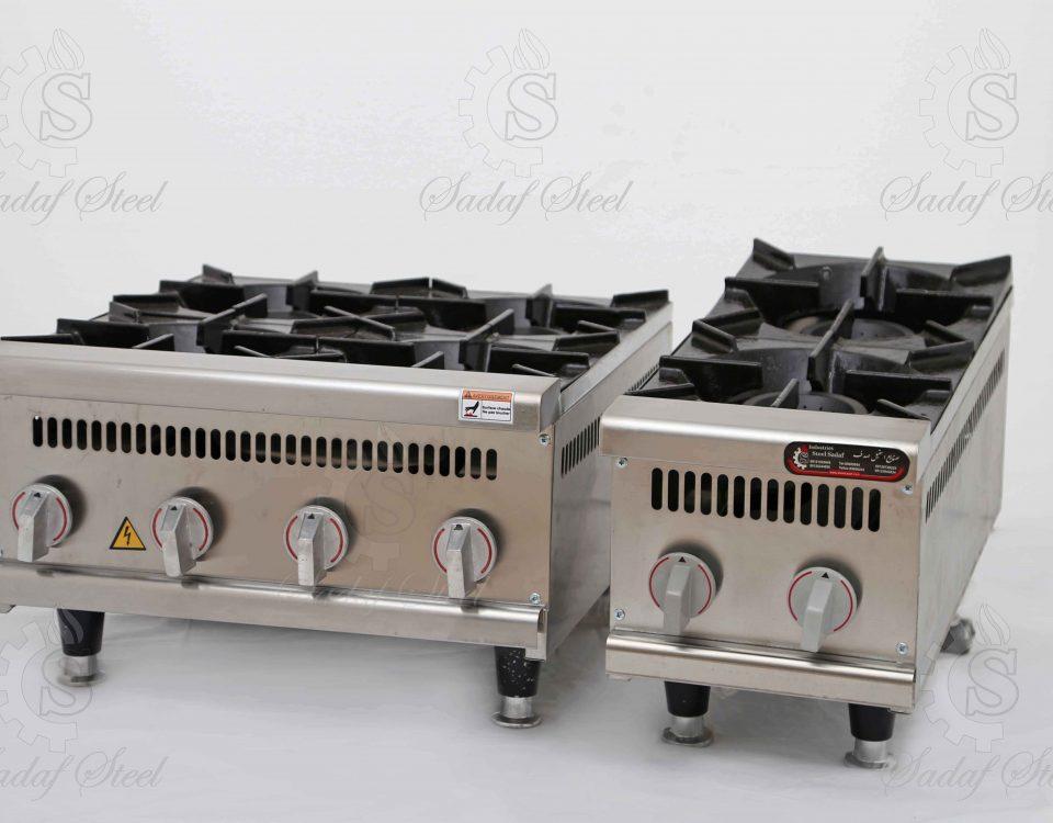 تجهیزات آشپزخانه صنعتی| چهار شعله و دوشعله رومیزی | استیل صدف
