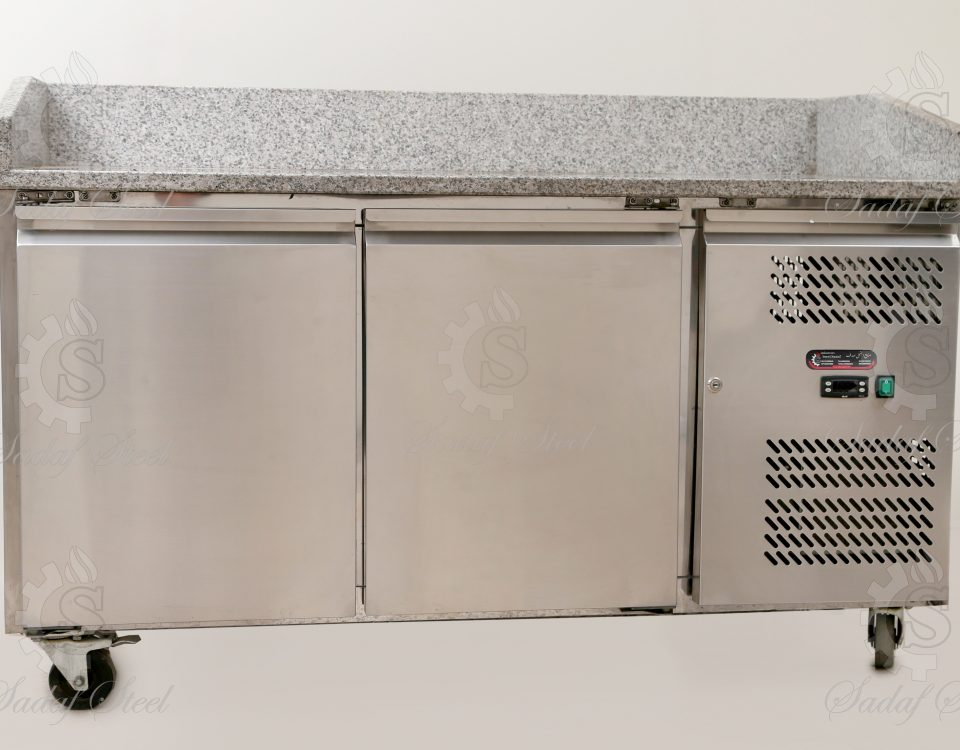 تجهیزات آشپزخانه صنعتی | یخچال رویه میز کار سنگ | استیل صدف