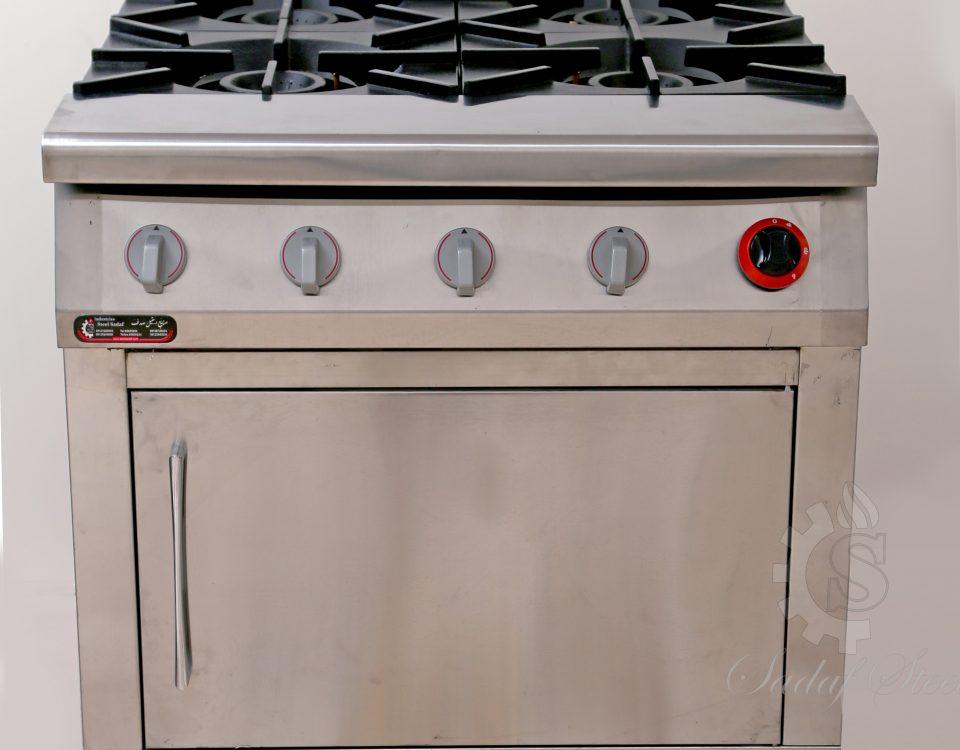 تجهیزات آشپزخانه صنعتی| چهار شعله فردار | استیل صدف