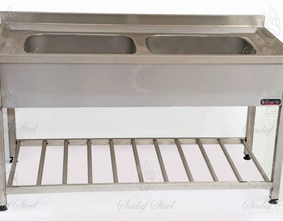 تجهیزات آشپزخانه صنعتی | سینک دو لگن | استیل صدف
